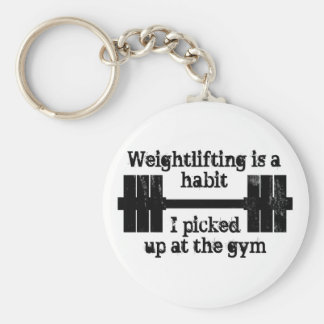 Weightlifting Habit Basic Round Button Key Ring