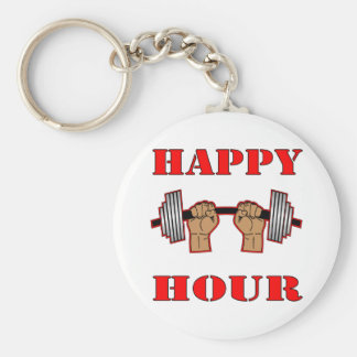 Weightlifting Happy Hour Barbell Keychain
