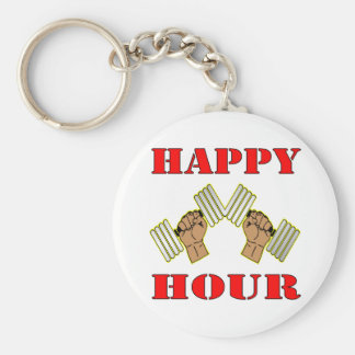 Weightlifting Happy Hour Dumbbells Basic Round Button Key Ring