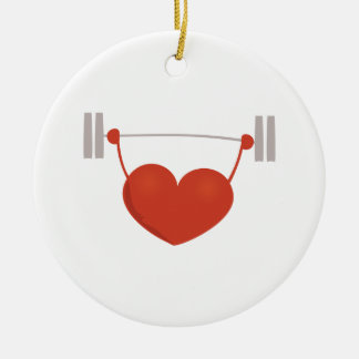 Weightlifting Heart Ceramic Ornament
