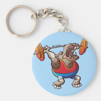 Weightlifting Hippopotamus Basic Round Button Key Ring