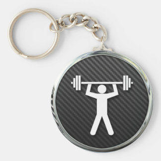 Weightlifting Icon Basic Round Button Key Ring