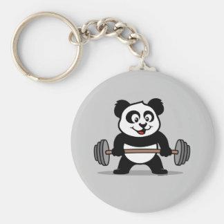 Weightlifting Panda Basic Round Button Key Ring