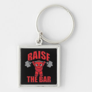 Weightlifting - Raise The Bar - Kawaii Motivation Silver-Colored Square Key Ring
