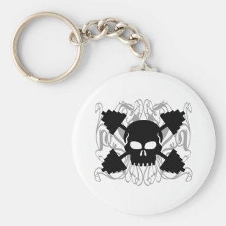 Weightlifting Skull Basic Round Button Key Ring