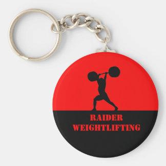 Weightlifting team basic round button key ring