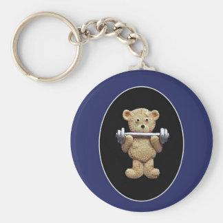 Weightlifting Teddy Bear Basic Round Button Key Ring