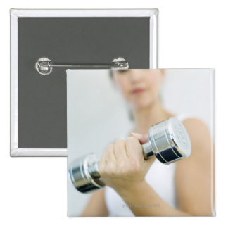 Weightlifting. Woman lifting dumbbells. This 15 Cm Square Badge