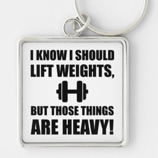 Weights Are Heavy Silver-Colored Square Key Ring