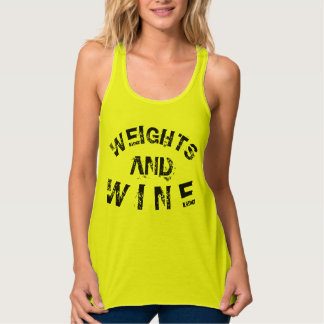 Weights & Wine Muscle Workout Racerback Yellow Singlet
