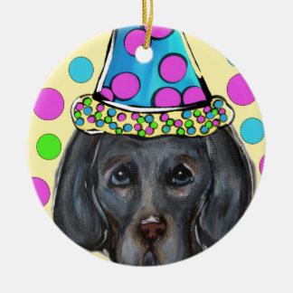 Weim Party Dog Ceramic Ornament