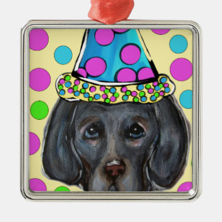 Weim Party Dog Metal Ornament