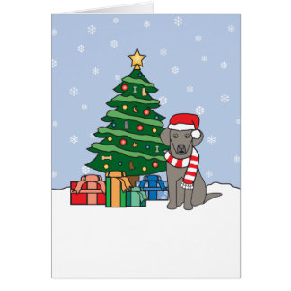 Weimaraner and Christmas Tree Card