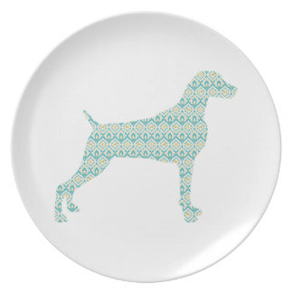 WEIMARANER AND PEACOCK FEATHERS MELAMINE PLATE