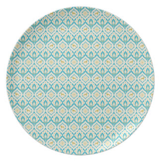 WEIMARANER AND PEACOCK FEATHERS PATTERN PLATE