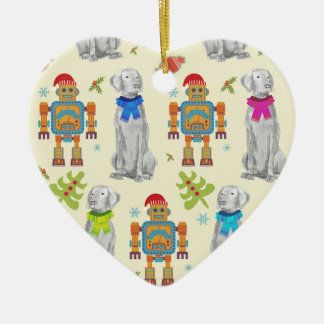WEIMARANER AND THE ROBOT CERAMIC ORNAMENT