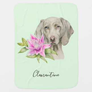 Weimaraner Dog and Lily Watercolor | Add Your Name Baby Blanket
