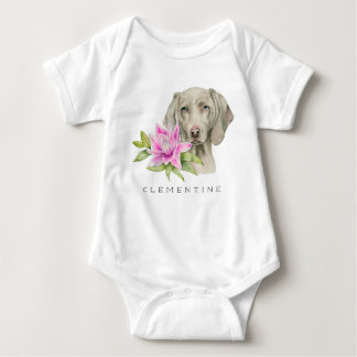 Weimaraner Dog and Lily Watercolor | Add Your Name Baby Bodysuit