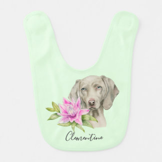 Weimaraner Dog and Lily Watercolor | Add Your Name Bib