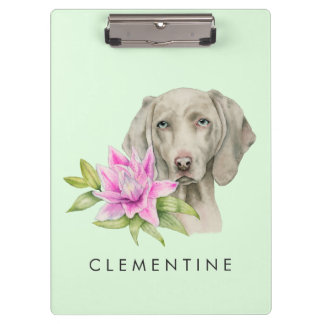 Weimaraner Dog and Lily Watercolor | Add Your Name Clipboard