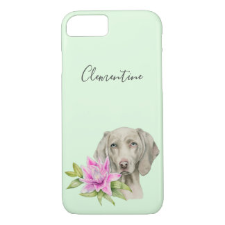Weimaraner Dog and Lily Watercolor | Add Your Name iPhone 8/7 Case