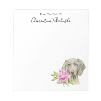 Weimaraner Dog and Lily Watercolor   Add Your Name Notepad