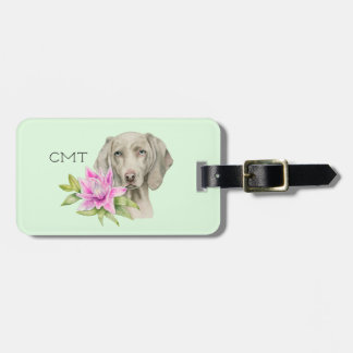 Weimaraner Dog and Lily Watercolor | Monogram Luggage Tag