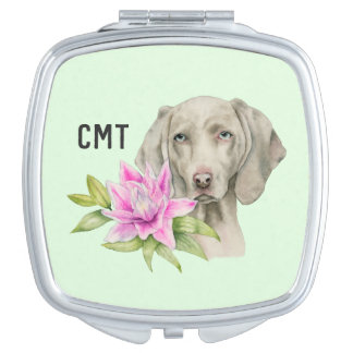Weimaraner Dog and Lily Watercolor | Monogram Mirror For Makeup
