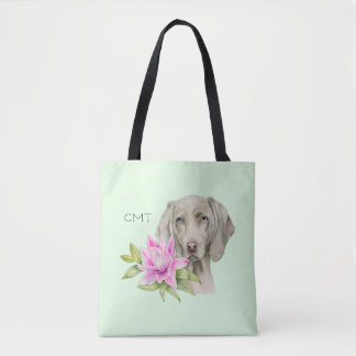 Weimaraner Dog and Lily Watercolor | Monogram Tote Bag