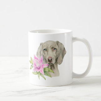 Weimaraner Dog and Lily Watercolor Painting Coffee Mug
