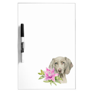 Weimaraner Dog and Lily Watercolor Painting Dry Erase Board