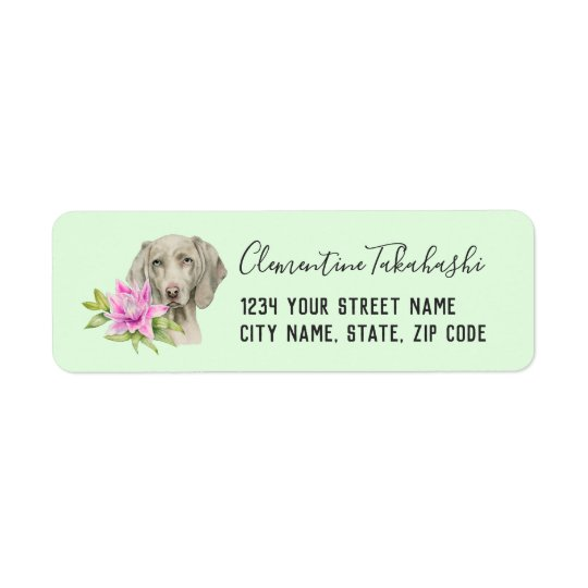Weimaraner Dog and Lily Watercolor Painting Return Address Label
