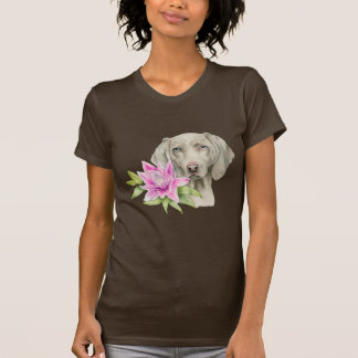 Weimaraner Dog and Lily Watercolor Painting T-Shirt