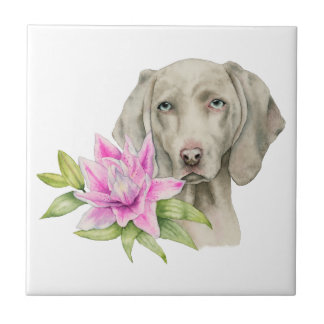 Weimaraner Dog and Lily Watercolor Painting Tile