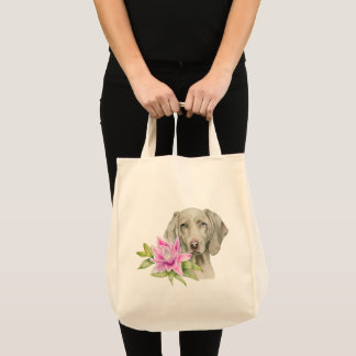 Weimaraner Dog and Lily Watercolor Painting Tote Bag