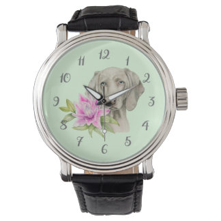Weimaraner Dog and Lily Watercolor Painting Watch