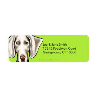 Weimaraner Dog Olive Return Address Label