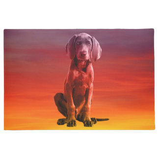 Weimaraner Dog Sitting On Beach Doormat