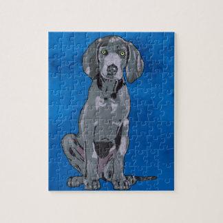 Weimaraner Dog Watercolor Art Portrait Faux Jigsaw Puzzle