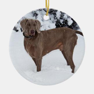 Weimaraner In Winter Ceramic Ornament