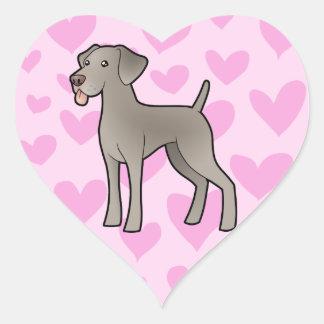 Weimaraner Love Heart Sticker