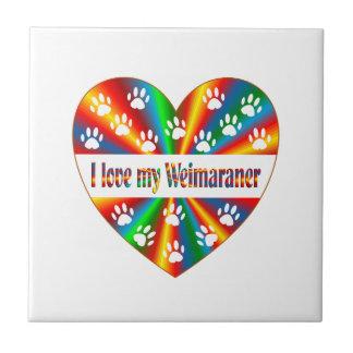 Weimaraner Love Small Square Tile