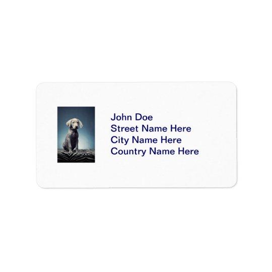 Weimaraner puppy address label