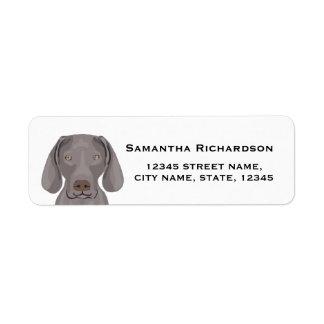 weimaraner return address label dog stickers