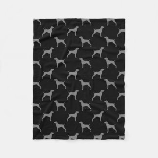 Weimaraner Silhouettes Pattern Grey and Black Fleece Blanket