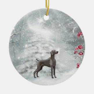 Weimaraner Winter Ornament