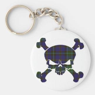 Weir Tartan Skull No Banner Basic Round Button Key Ring