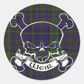 Weir Tartan Skull Round Sticker