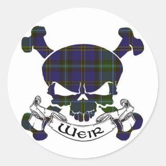 Weir Tartan Skull Sticker