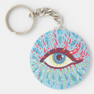 Weird Blue Psychedelic Eye Basic Round Button Key Ring